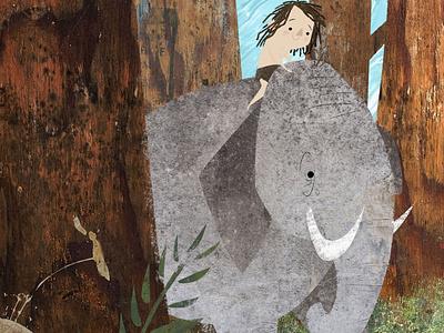 Taking a Walk on the Wild Side 🐘 children graphic design character design collage jungle elephant kidlitart design story book illustration picture book childrens book illustration