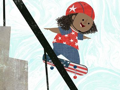 Little Olympians - Skateboarding texture graphic design design character design book illustration kidlitart picture book childrens book illustration skateboarding olympics