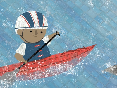 Little Olympians Kayaker collage digital painting painting drawing olympics graphic design design character design book illustration kidlitart picture book childrens book illustration