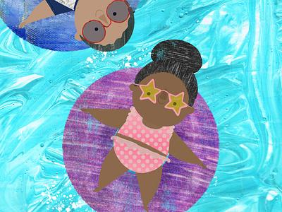 Lazy River paint textures summer design character design book illustration kidlitart picture book childrens book illustration