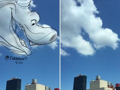 Cloud Warm-Ups - Dragon ipad procreate sketch shape study nyc coud kidlitart illustration clouds