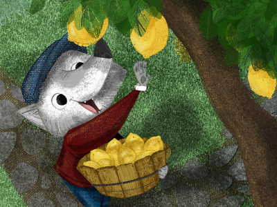 Lemon Trees painting tree lemon wolf character design art ipad art procreate picture book book illustration childrens book illustration