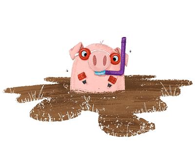 Mud Dive picture book kidlitart book illustration childrens book pig illustration