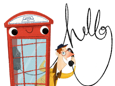 ☎️ Hello artwork character story phone booth phone book illustration picture book character design illustrator illustration hello