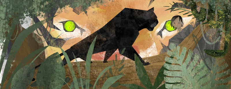 The Jungle Book - Cover/Dust Jacket textures illustrator animals book covers book cover jungle book photoshop childrens book illustration childrens illustration texture story kidlit character design book illustration kidlitart picture book childrens book illustration