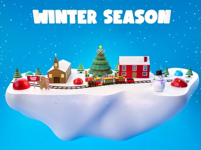 Winter season character gingerbread love ball cold home snowflake snow snowman hat party christmas tree christmas december background low poly illustration blender 3d art 3d