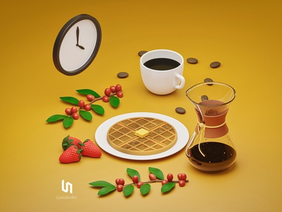 Coffee Time eleven bean strawberry butter branch tree waffle 3d art blender isometric art background branding low poly 3d ui breakfast cup coffee