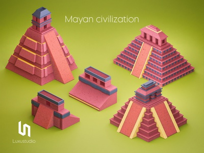 Mayan civilization soccer design blender earth history pyramid ancient ruins aztec guatemala mexico honduras 3d art isometric art illustration culture