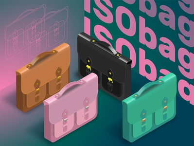 cute_bag isometric vector illustration