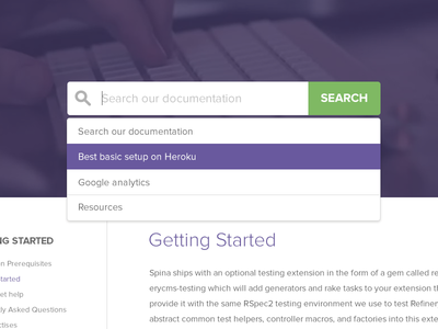 Search function Spina CMS cms search function spina documentation dropdown hover state