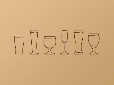 Beer glasses lines icon glass beer