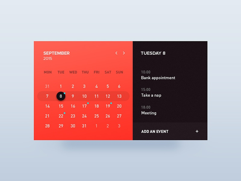 Day 29 - Calendar window app event card calendar ux ui