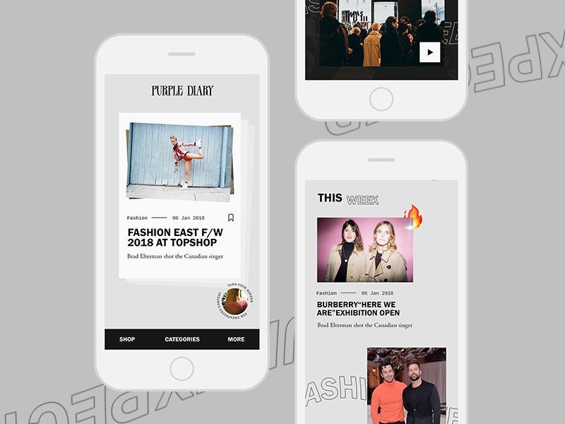 Purple Magazine mobile concept brut slider content magazine fashion purple mobile design ux ui