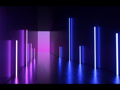 Hallway texture light hallway dark design cinema c4d reflection bloom glow architecture interior art concept 3d