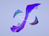 Iridescent clothes design art concept abstract cloth iridescent c4d 3d