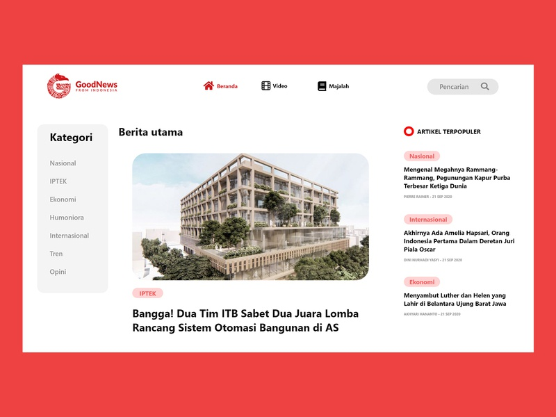 News Portal - Redesign Good News From Indonesia minimal icon typography ux ui branding illustration newsportal web gnfi uiux desgin news