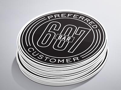 Preferred customer stickers white black logo branding design