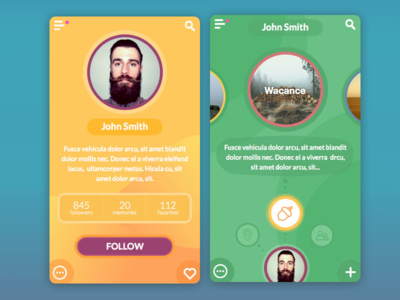 Emotional App interface interactive mobile ios appdesign app flat concept ux ui