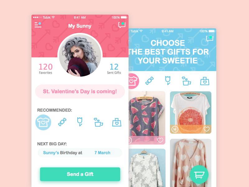 Gift Panic App valentine colorful application app iphone ios mobile flat illustration ux ui