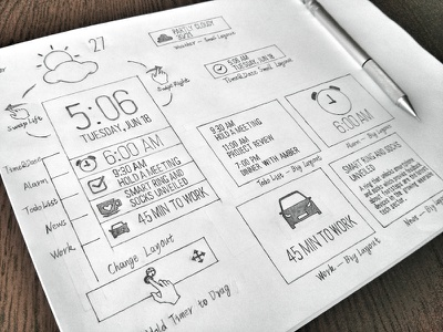Sketch wireframe sketch app morning alarm weather news work todo clock time date