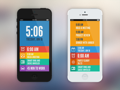 Visual Treatment alarm date flat app weather clock morning news time to-do todo work