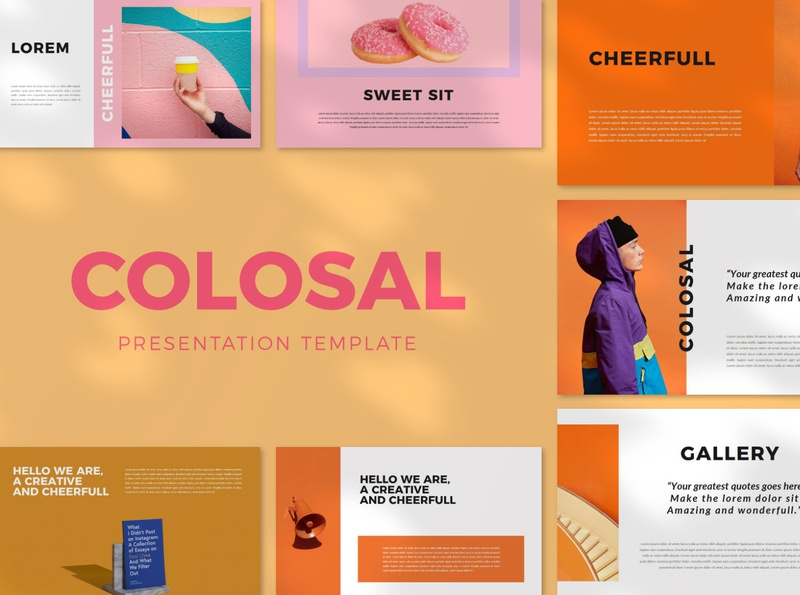 Colosal Presentation Template googleslides keynote powerpoint presentation colorfull trendy simple portfolio photograhy business marketing creative minimal