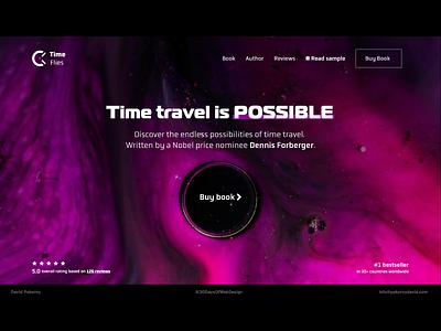 Book landing page purple dark design landing page header futuristic modern header design book time travel