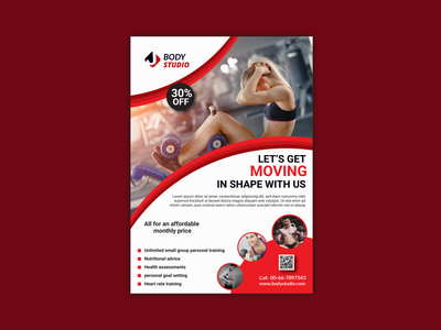 Body GYM Flyer Design 3d gym figma gym fitness workout minimal motion gym flyer body gym flyer modern design presentation professional design a4 flyer branding catalog corporate brochure flyer marketing business