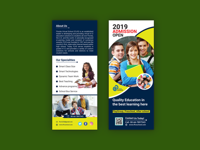 School Admission rack card flyer/DL Flyer design crean design children school flyer kids flyer design flyers creative design yellow design rack card admission flyer school flyer dl flyer design brochure corporate logo catalog flyer branding marketing business