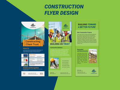 Construction Rack Card / DL Flyer design door hanger graphic design realestate clean attrective design flyer design contruction corporate design dl flyer professional design flyer a4 flyer marketing logo branding business