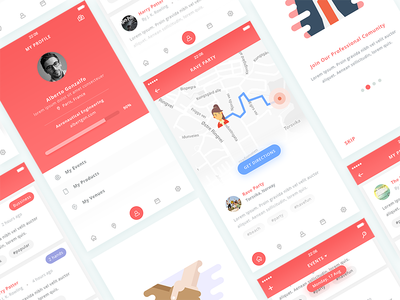 Event App clean map profile ios illustration onboarding event book app