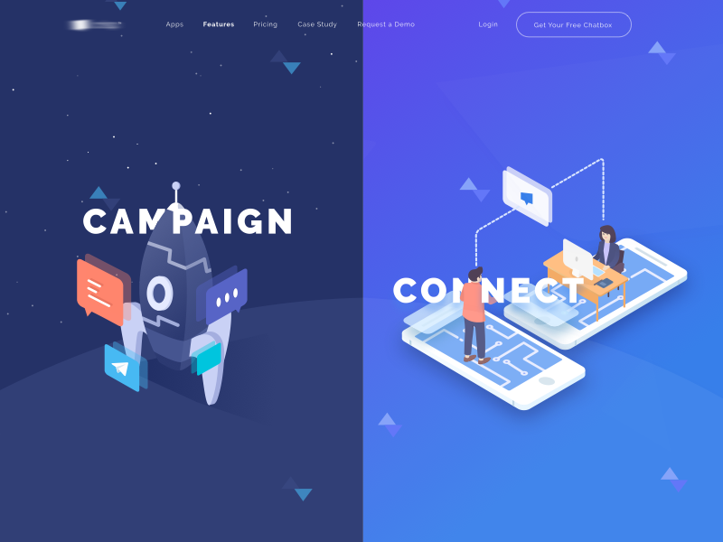 Isometric Landing Page app space flat header campaign connect isometric website landingpage illustration