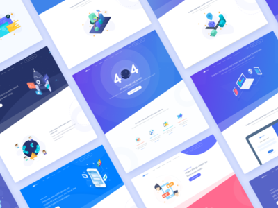 Isometric Landing Page space device 404 graph apps website flat landingpage illustration isometric