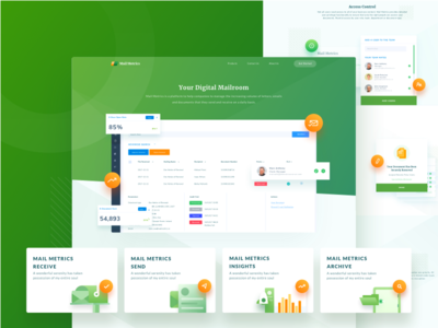 MailMetrics Landing Page fresh material messages mail dashboard illustration icons ui modern web landing page desktop