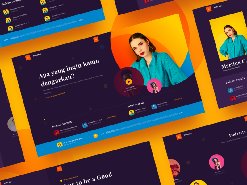 Podcast Landing Page music modern colorful fun podcast branding landingpage design web ui website app