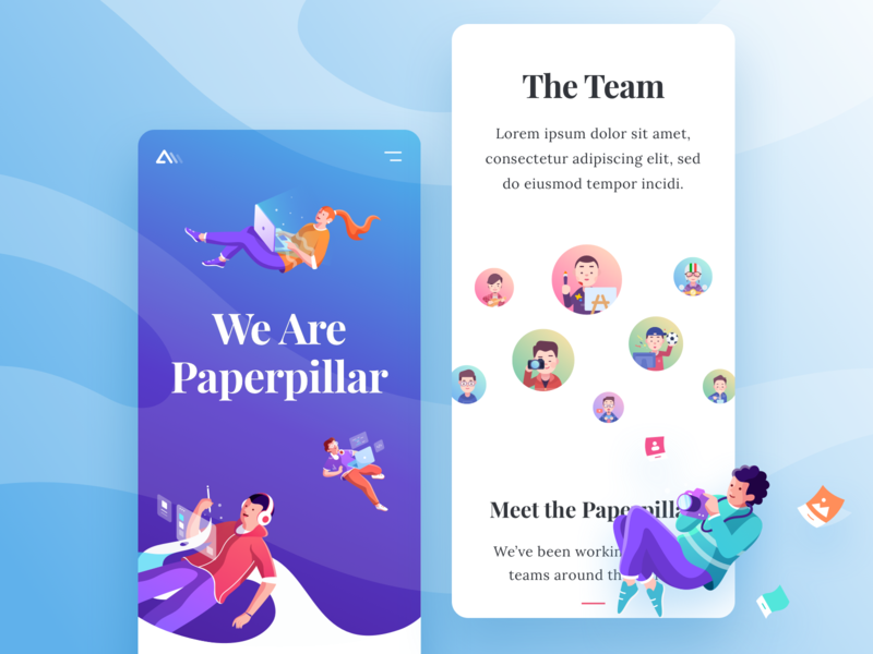 Paperpillar Mobile Landing Page mobile web branding typogaphy fun colorful website landing page gradient illustration