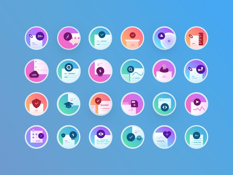 Icon Set for Skodel Landing Page school customer data line exploration research management wellbeing stats discover search gradient iconset icons