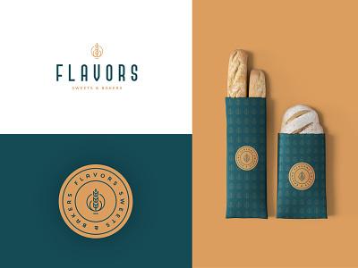 Flavors logo mark trade mark logo presentation bakery branding branding design brand identity design logo design sweets bread food bakery design branding logo mark graphics design brand logo flavors