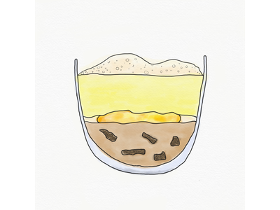 Mushrooms & Potatoes gravy mushroom morel mushroom egg onsen egg watercolor puree potato foam parmesan relationship food design menu design food illustration menu illustration
