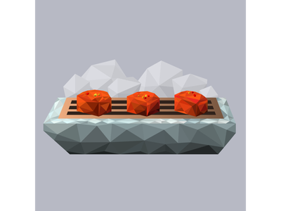 Sichuan Pork Belly on Dry Ice low poly cold destruction fire sweet and sour sauce pork belly peppercorn smoke dry ice chili flakes chinese food szechuan food design menu design food menu menu illustration food illustration