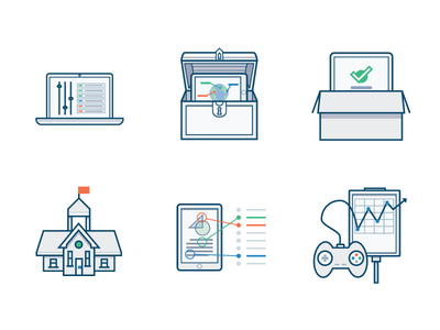 School Licensing Icons content download albert.io vector illustration administration alignment gamification set up access customize icons