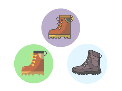 Boots on Boots shoes flat illustration icons avatars boots hiking boots
