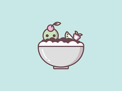 Patbingsu 팥빙수 fruit green tea red bean icon illustration sweets ice cream 팥빙수 patbingsu