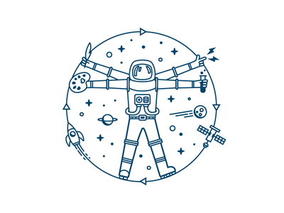 Spaceman education knowledge space vitruvian man astronaut tshirt illustration