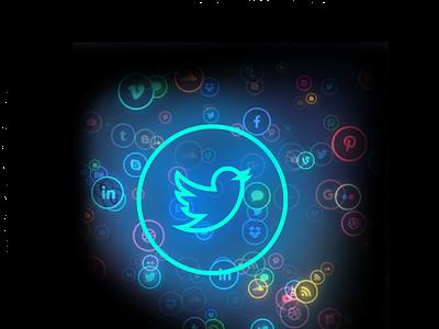 neon social media icons: Twitter icons neon social media twitter figma logo
