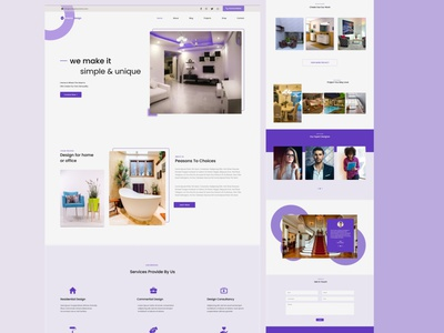 Interior design landing page ui ui website template app illustration ux branding website minimal design