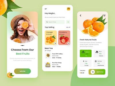 Fruits delivery mobile app orange app ux ui mobile app grocery store grocery store m-commerce e-commerce vegetable card food fruits market concept