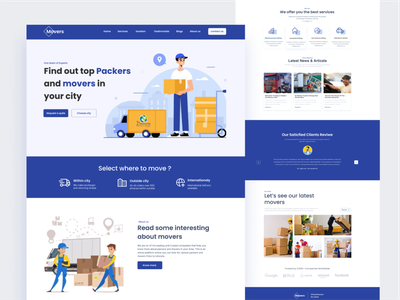 Packers and movers landing page web design illustrations interface design delivery website courier service deliverest service delivery landing page uiux business clean moving logistic transportation cargo packing box packer packers and movers