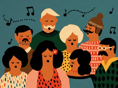 Madeira Early Events people sing vector illustration colorful handmade