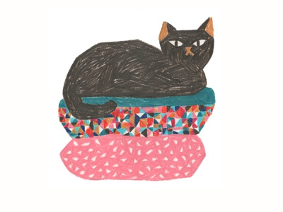 Cat pink cats illustration colorful handmade